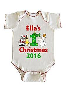 Ella's First Christmas Baby Girl Infant Bodysuit by Fashion Greek