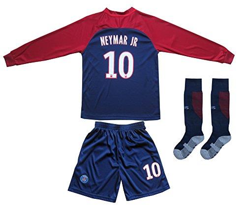 2017/2018 PSG Paris Saint Germain Home #10 NEYMAR JR. Football Soccer Kids Long Sleeve Jersey Socks Set Youth Sizes