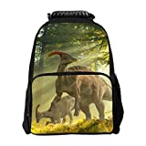 SARA NEKK Kids Backpack Boys Girls Backpack School Backpack Book Bag Troodon Dinosaur in forest