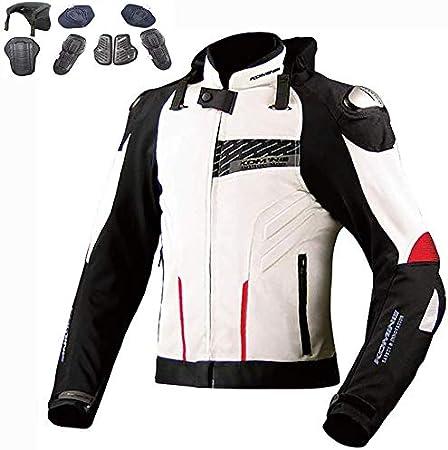 Chaqueta de Moto con Luz de Advertencia LED, Transpirable Anti-caída Transpirable Impermeable Resistente con Armours CE Unisex Chaqueta para Motocicleta