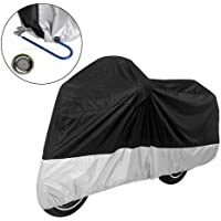 Cubierta de bicicleta ciclismo impermeable, Funda para Moto, protector de Motocicleta Exterior Con 2 Orificios de Bloqueo, Deluxe Motorcycle Cover, Weather Protection, UV, Air Vents, Heat Shield, Windshield Liner, Compression Bag, Grommets, Large fits Sport Bikes and Small/Medium Cruisers (XL, Negro + Plata)