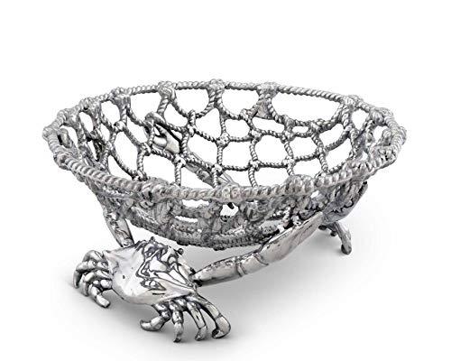 - Arthur Court Fruit Centerpiece Basket Crab and Net Ocean/Seacoast Aluminum Hand Polished- 7