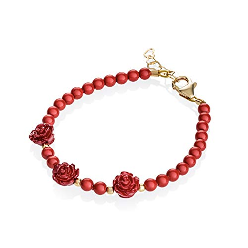14K Gold-Filled Newborn Baby Girl Beaded Bracelet (0-9 Months) - with Gold-Filled Beads, Red Swarovski Simulated Pearls and Red Rose Flowers - Best Baby Shower Gift, New Baby Gift