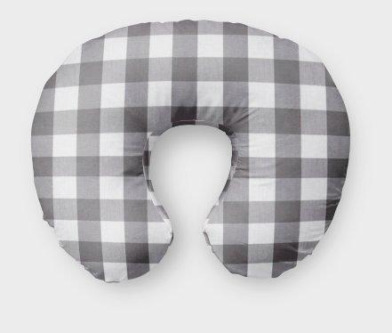 AllTot Nursing Pillow Cover in Gray Buffalo Plaid