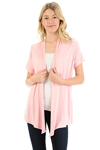 Pastel by Vivienne Women's Short Sleeve Open Front Vest XX-Large Pink