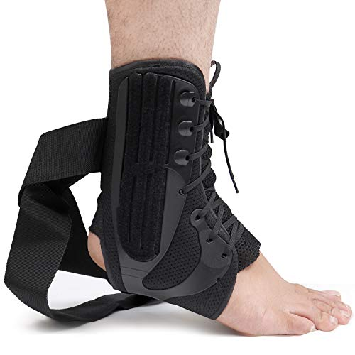 - Lace Up Ankle Brace (Medium) - Ankle Stabilizer Support for Joint Pain, Volleyball Soccer Injuries, Swelling, Sprains - Foot Guard with Compression Straps Wear-Over Socks or Sleeves - Men, Women