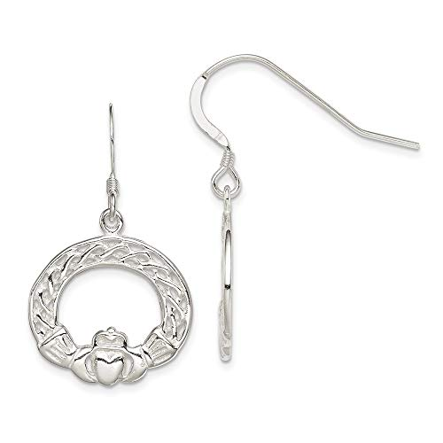 (Q Gold Sterling Silver Celtic Knot Claddagh Earrings)