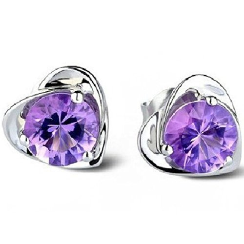UZZO™Christams Gift-Mysterious Purple Amethyst Crystal Diamond Design Lovely Silver Heart Shape Heart Shape Stud Earrings for Wedding Party Women Lady Girls Make Up Costume Accessories