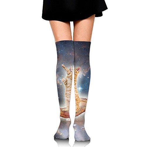 むしゃむしゃバン膜ほしぞら 猫 ストッキング サイハイソックス 3D デザイン 女性男性 秋と冬 フリーサイズ 美脚 かわいいデザイン 靴下 足元パイル ハイソックス メンズ レディース ブラック