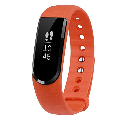 LETSCOM Smart Watch, Smart Pedometer Bracelet and Sleep Monitor, Bluetooth 4.0 Activity Tracker, IP67 Waterproof Fitness Tracker, OLED Touch Screen Fitness Tracker, Orange