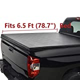 Deebior Clamp On Waterproof Soft Lock & Roll-up Top Mount Tonneau Cover |1228| Black Vinyl Bed Cover for Chevy Silverado/GMC Sierra 07-13 1500 07-14 2500/3500 HD New Body Pickup 6.5ft Fleetside Bed
