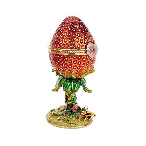 Box Enameled Treasure (Design Toscano Garden Treasures Collection: Romanov Style Enameled Egg: Strawberry)