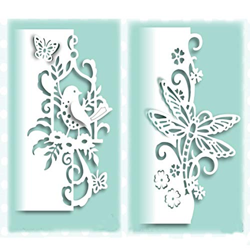 Card Craft Templates (2pcs Metal Die Cuts,Lace Bird Butterfly Dragonfly Metal Cutting Dies Stencils DIY Invitation Scrapbook Embossing Album Paper Photo Craft for Card Making Mould Template)