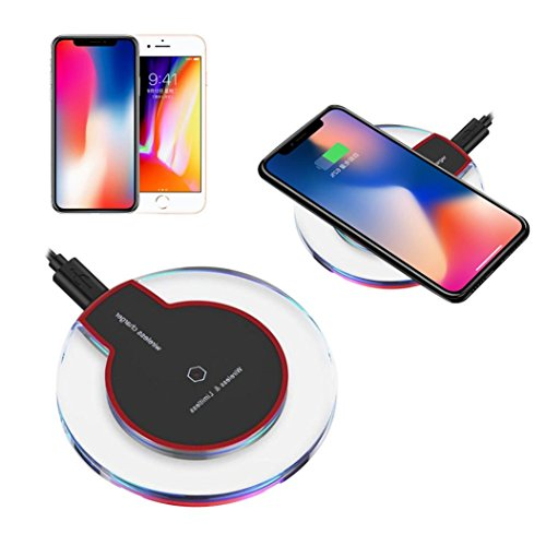 Tuscom Qi Charging Pad Mat Device For iPhone X 10 8/8 Plus+ ,Galaxy Note 8,All smartphone Qi-Enabled,Portable Clear Wireless Charger Power (Black)