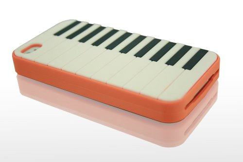 THS5Star piano musique Gel Silicone housse coque etui case pour iPhone 4 iphone 4s manchot piano couleur orange - Studio Lars-Peter Neu