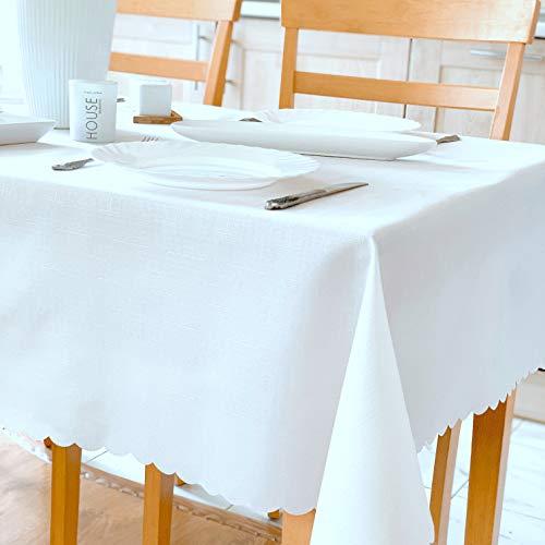 Stain Resistant Turkish White Tablecloth Polyester Table Linen, Rectangular, Square, Round, Washes Easily, Non Iron - Thanksgiving, Christmas, Dinner, Wedding (WHITE light, Rectangle 60