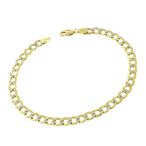 14K Two Tone Gold 4MM Cuban Chain Bracelet with White Pave Diamond Cuts - 8 Inches (2 Tone Yellow) (14k Mens White Bracelet Link)