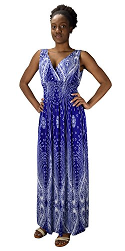Peach Couture Womens Paisley Print Smocked Waist Surplice Bodice Tank Maxi Dress Boho Blue (Surplice Tank Dress)