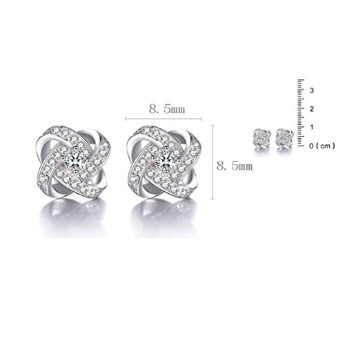 Time Pawnshop Elegant Love Knot Sterling Silver Cubic Zirconia Charm Lady Stud Earrings by Time Pawnshop (Image #2)