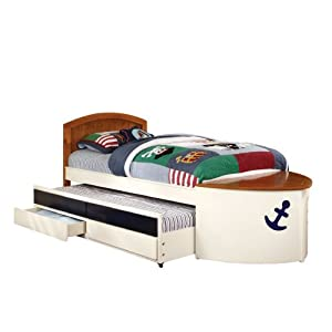 Furniture of America Youth Boat Design Bed with Trundle and Storage Drawer, Twin, White and Oak 13