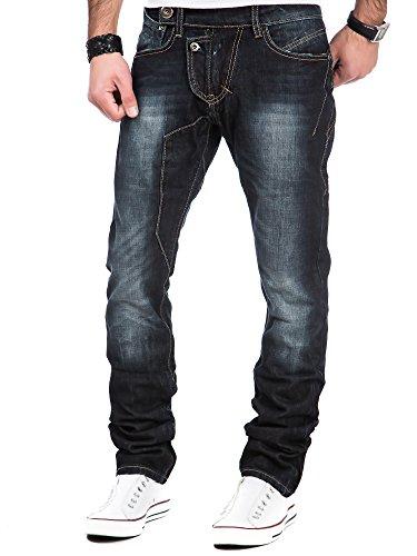 Jeans Herren Hose Denim Clubwear Chino Destroyed L.A.B 1928 Vintage Kosmo Japan Style Look Used LAB-218 Schwarz
