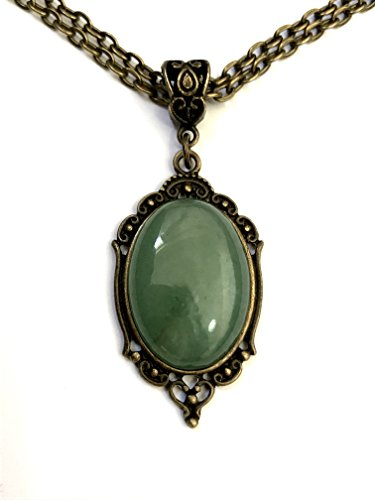 Aventurine Gemstone Bronze Oval Necklace Vintage 8th / 19th Wedding Anniversary - Boxed & Gift Wrapped