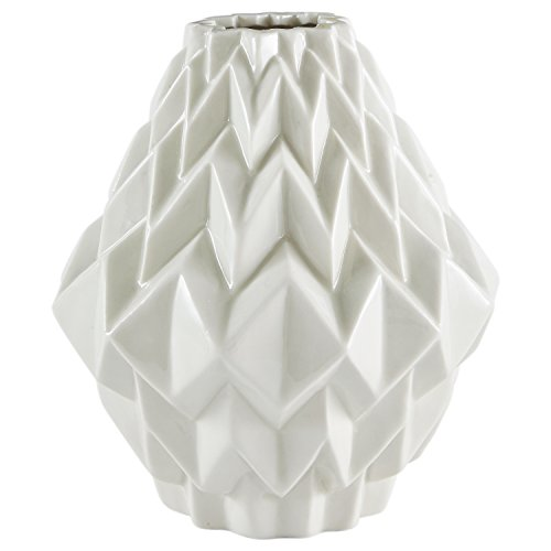 Rivet Modern Geometric Pattern Stoneware Vase, 6.9