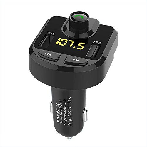 edtara vehículo adaptador de coche Bluetooth Reproductor de MP3para el disco de U, AUX con doble cargador USB