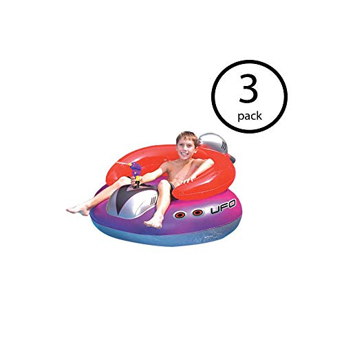 oldzon Swimming Pool UFO Squirter Toy Inflatable Lounge Chair Float (3 Pack) with Ebook