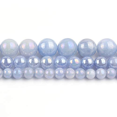 Yochus 10mm Electroplated Blue Angelite Round Loose Beads Natural Stone Beads for Jewelry Making