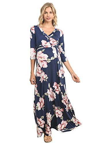 5ced6d5ca1b Hello MIZ Women s Floral Print Draped 3 4 Sleeve Long Maxi Maternity Dress.