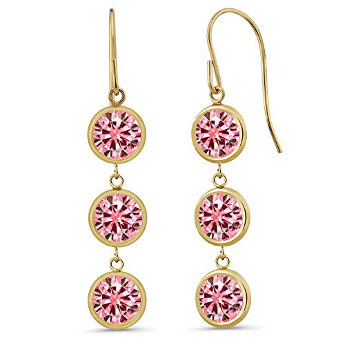 (14K Yellow Gold Dangle Earrings Pink Round Created Moissanite 3.00ct DEW)