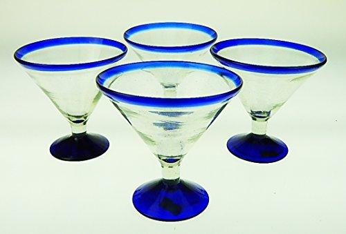 Mexican Glass Margarita Martini 15 Oz. Blue Rim, set of 4. Eye4Art