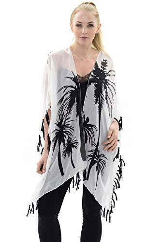 BYOS Womens Summer Soft Open Front Kimono Shawl Warp With Tassels (White Palm -