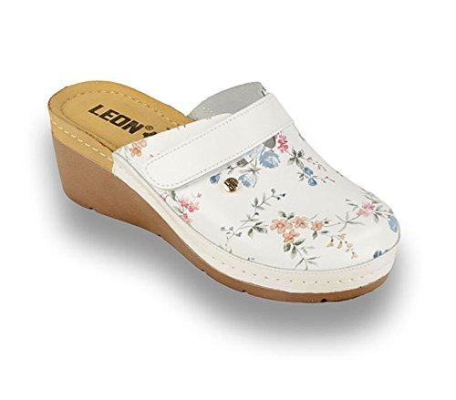 LEON 1003 Sabots Mules Chaussons Chaussures en Cuir Femme Dames Fleur Blanche QtdjcKFe