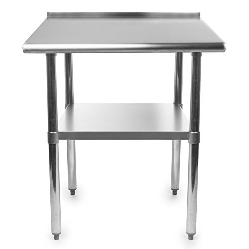 GRIDMANN NSF Stainless Steel Commercial Kitchen Prep & Work Table w/Backsplash - 36 in. x 24 in.