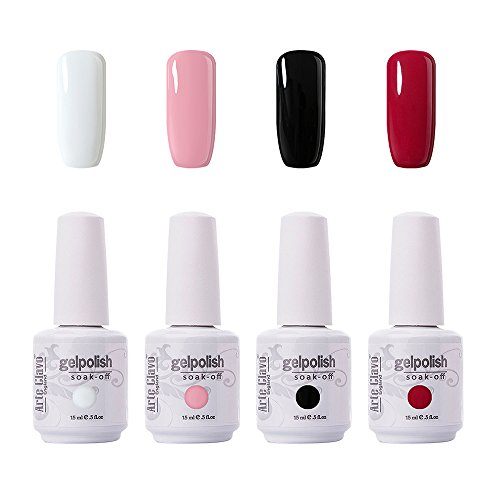 Arte Clavo 15ml Varnish Soak Off UV Led Nail Gel Polish Nail Art Salon Set 01 of 4 Colors