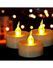 HANZIM LED-ljus, 50-pack LED-värmeljus flamlösa ljusa blinkande elektriskt falska ljus hemma juldekorationer bröllopsbord present utomhus