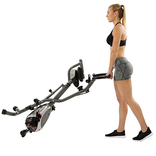 Sunny Health & Fitness Foldable Semi Recumbent Magnetic Upright Exercise Bike w/Pulse Rate Monitoring, Adjustable Arm Resistance Bands and LCD Monitor - SF-B2710 by Sunny Health & Fitness (Image #15)