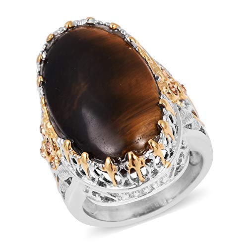 Shop LC Delivering Joy Stainless Steel ION Plated Oval Tigers Eye Champagne Color Crystal Statement Ring for Women Size 8