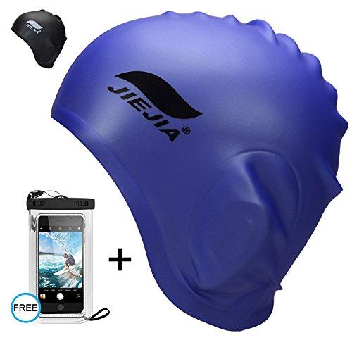 Silicone Swim Cap for Long Hair - Blue Swimming Hat for Women Ladies Men Adult - Waterproof Swim Caps that Keep Hair Dry - Non Latex Swimming Hair Cap - Large Swimming Pool Cap | Free Waterproof (Adult Non Latex)
