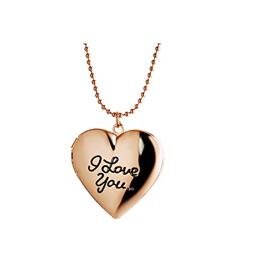 Frame Heart Locket Necklace - Ztuo Gold Friend Photo Frame Memory Pocket Heart Locket Necklace Engraved Word I Love YOU Letter Pendant
