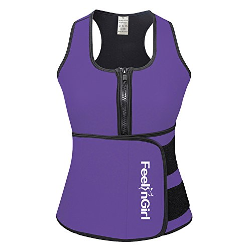 FeelinGirl Neoprene Sauna Suit - Sauna Tank Top Vest with Adjustable Shaper Trainer Belt 3X-Large Purple