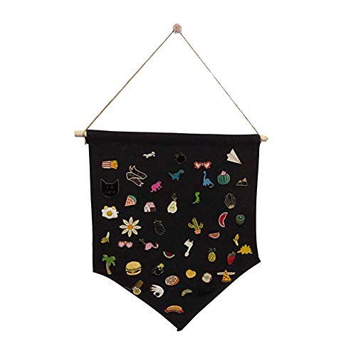 (Enamel Pin Cute Funny Lapel Pins for Backpacks Clothes Jackets Hats,Badge Display Hanging Cloth Burgee Pennant Brooch Organizer Kids Room Wall Decor - Black)