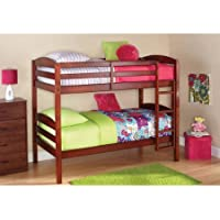 Mainstays Twin Over Twin Wood Bunk Bed (1, Walnut)