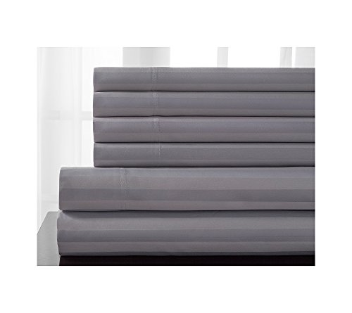Elite Home Products Delray Stripe 600-Thread Count Cotton Rich 6-pc. Sheet Sets Micro Chip Queen Sheet Set Delray Stripe