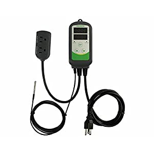 Inkbird Temperature Controller ITC308 Reptile Freezer Thermostat Aquarium Heater Cooler 110V 1100W Pre Wired Dual Stage Digital Outlet Probe Heating Cooling Plug Homebrewing Refrigerator Greenhouse 65