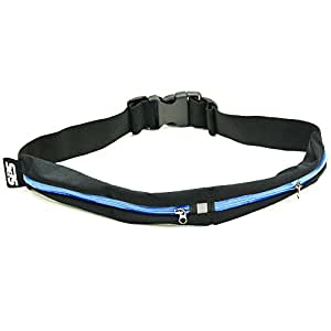 SLS3 Dual Pocket Running Belt Race Belt Waist Pack for Smartphone iPhone 6+, Samsung - Water Resistant for Workouts, Cycling, Hiking, Walking, Running, Riding bikes, Fitness (Blue)
