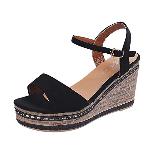 Sanyyanlsy Womens Elegant Flock Single Band Sandals Metal Patch Wedge Platform High Heel Sandals Buckle Strap Shoes Black