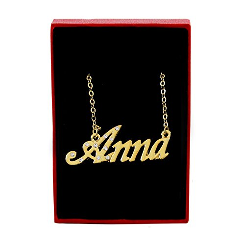 - Name Necklaces Anna - Personalized Necklace Gold Plated 18K, Belcher Chain, 2mm Thick